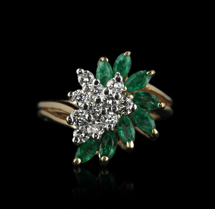 14KT Yellow Gold 0.50ctw Emerald and Diamond Ring GB771
