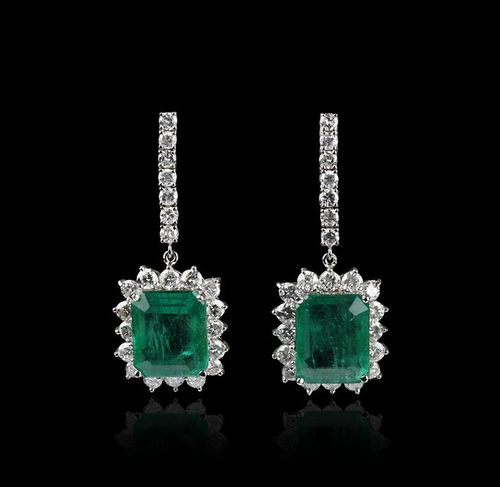 18KT White Gold 18.16ctw Emerald and Diamond Earrings A