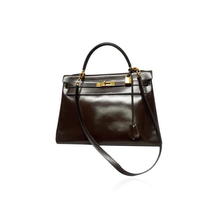 Authentic Hermes 32cm Kelly Bag in Chocolate Sellier Bo