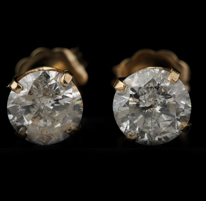 14KT Yellow Gold 1.50ctw Diamond Solitaire Earrings GB8