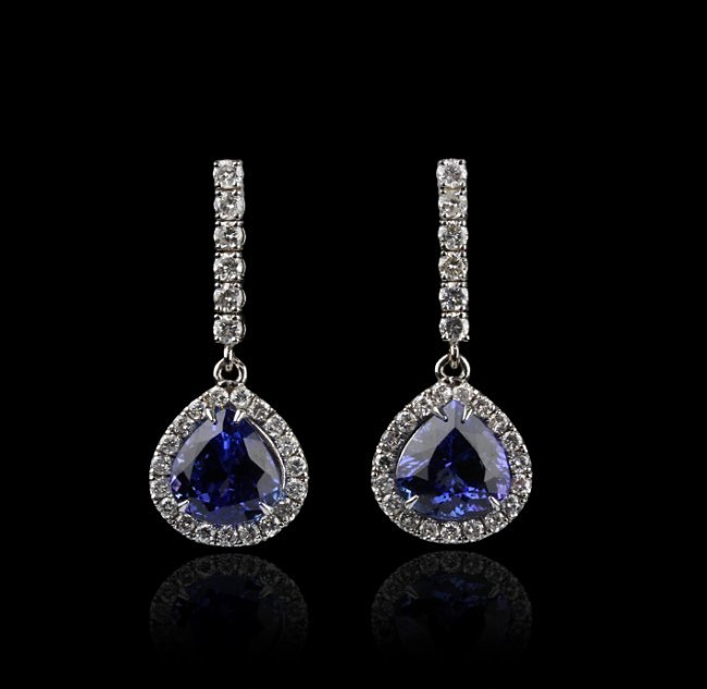 18KT White Gold 11.95ctw Tanzanite and Diamond Earrings