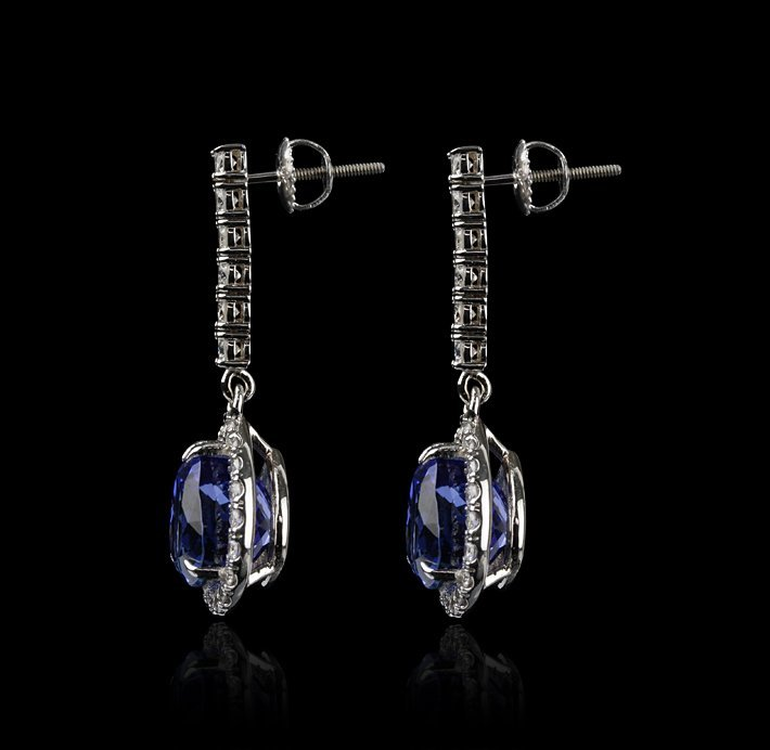 18KT White Gold 11.95ctw Tanzanite and Diamond Earrings - 2
