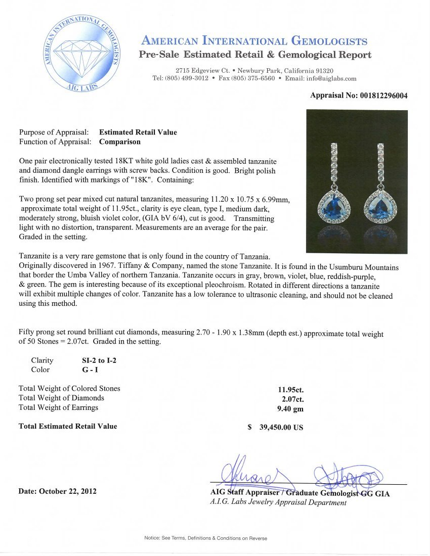 18KT White Gold 11.95ctw Tanzanite and Diamond Earrings - 3