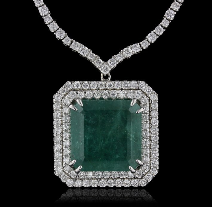 18KT White Gold 27.13ct Emerald and Diamond Necklace A4