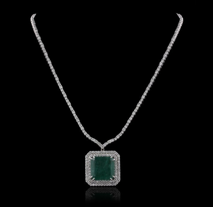 18KT White Gold 27.13ct Emerald and Diamond Necklace A4 - 2