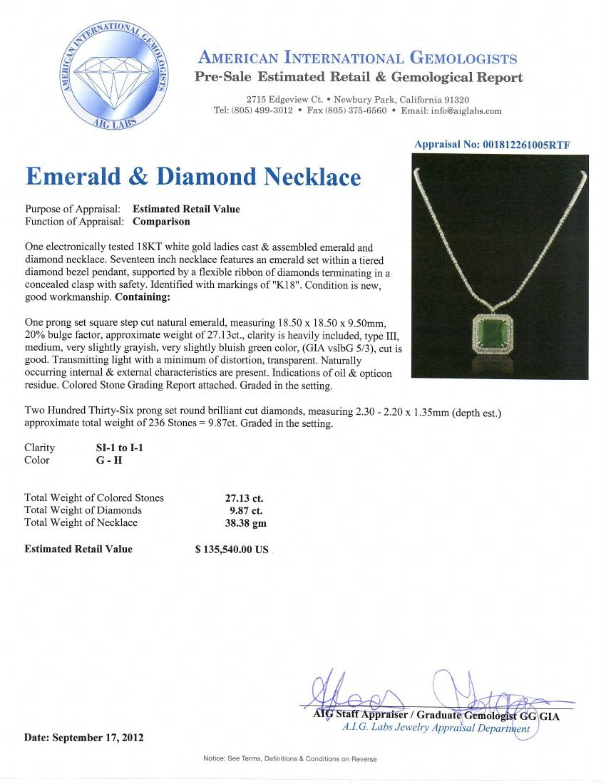 18KT White Gold 27.13ct Emerald and Diamond Necklace A4 - 5