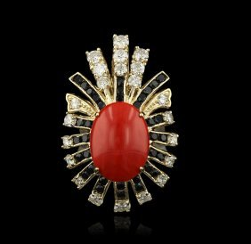 14KT Yellow Gold 6.78ctw Red Coral, Sapphire and Diamon