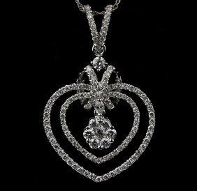18KT White Gold 0.88ctw Diamond Pendant with Chain FJM2