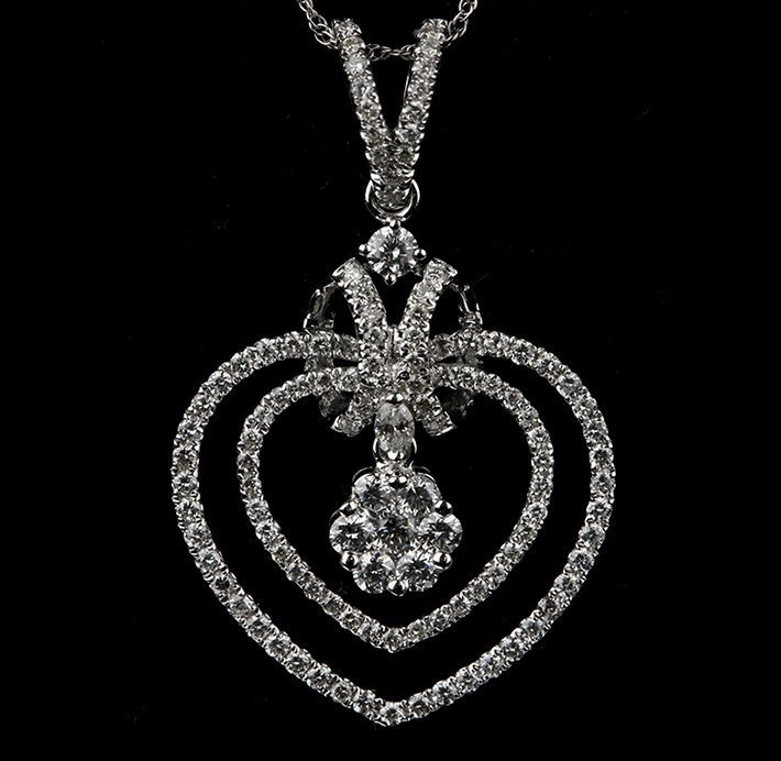 18KT White Gold 0.88ctw Diamond Pendant with Chain FJM2
