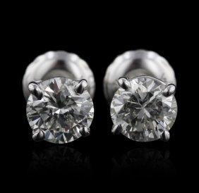 14KT White Gold 0.92ctw I1/H-I Diamond Solitaire Earrin