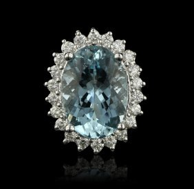 14KT White Gold 7.02ct Aquamarine and Diamond Ring A428
