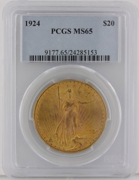 1924 $20 PCGS MS65 St. Gaudens Double Eagle Gold Coin G