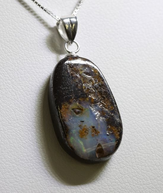 Sterling Silver Opal Doublet Necklace RTJ441