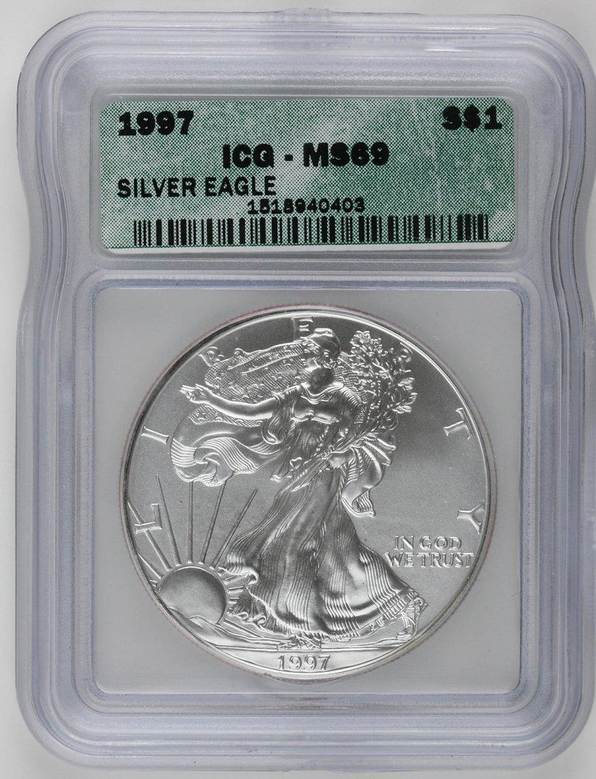 1997 $1 ICG MS69 Silver Eagle Dollar Coin SCE602