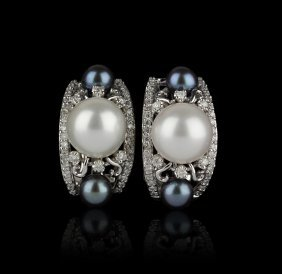14KT White Gold 6-11mm Pearl and Diamond Earrings FJM21