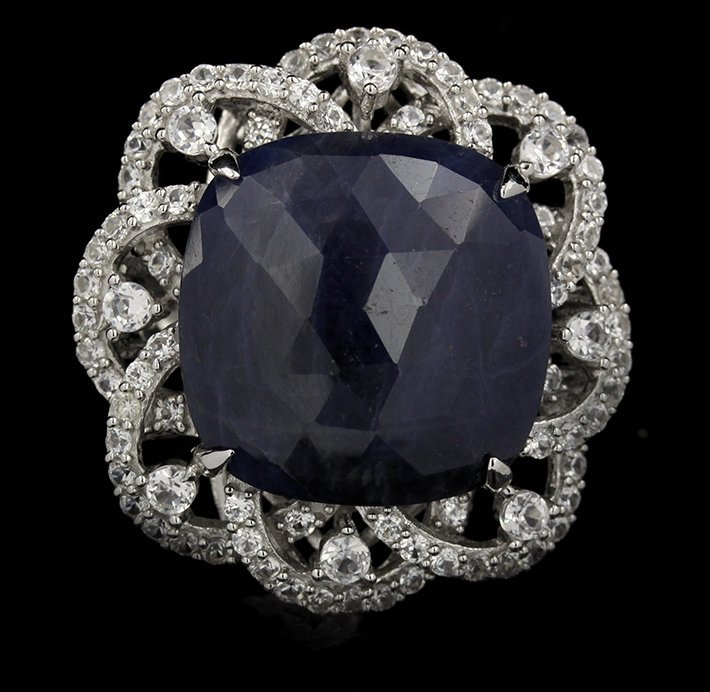 SILVER 15.97ct Blue Sapphire and White Sapphire Ring RM