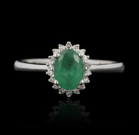 14KT White Gold 0.80ct Emerald and Diamond Ring FJM2270