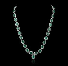14KT White Gold 39.00ctw Emerald and Diamond Necklace F