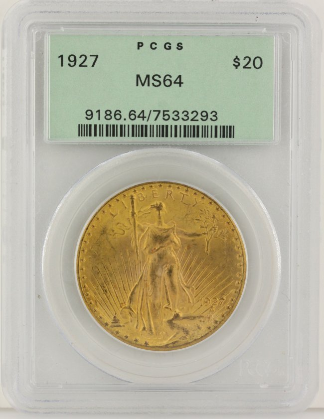 1927 $20 PCGS MS64 St. Gaudens Double Eagle Gold Coin D