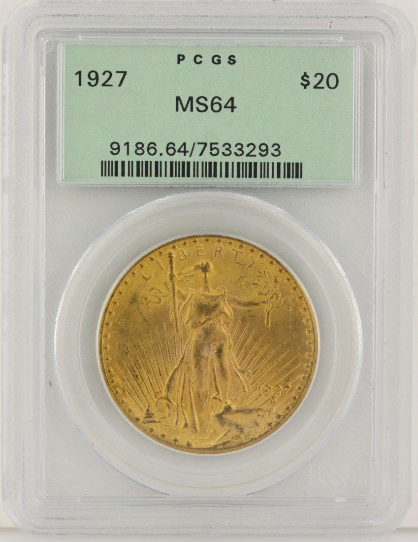 1927 $20 PCGS MS64 St. Gaudens Double Eagle Gold Coin D