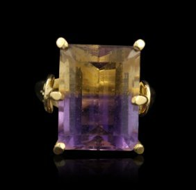 14KT Yellow Gold Amatrine Princess Cut Ring GD196