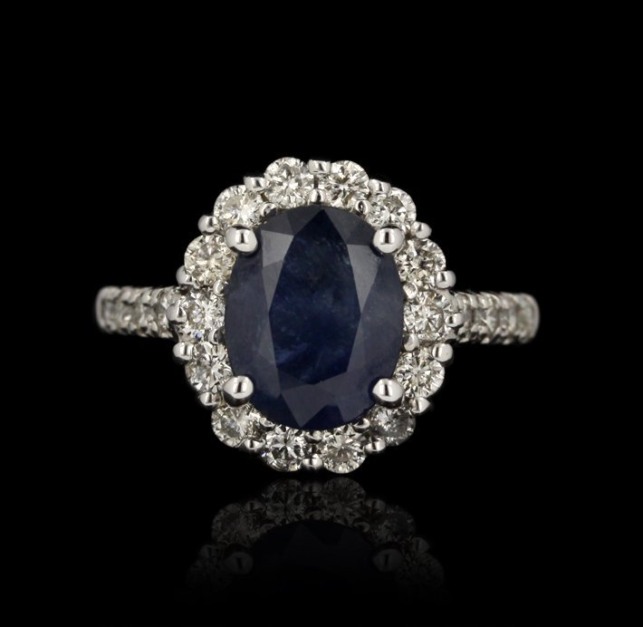 14KT White Gold 3.02ct Sapphire and Diamond Ring FJM244