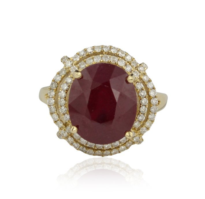14KT Yellow Gold 7.15ct Ruby and Diamond Ring RM929