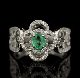 18KT White Gold 0.32ct Emerald and Diamond Ring FJM2264