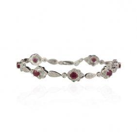 14KT White Gold 3.29ctw Ruby and Diamond Bracelet FJM24
