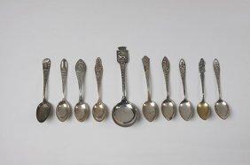 Antique Lot of 10 Sterling Silver Souvenir Spoons ED134