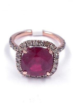 14KT Rose Gold 5.59ct Ruby and Diamond Ring J21