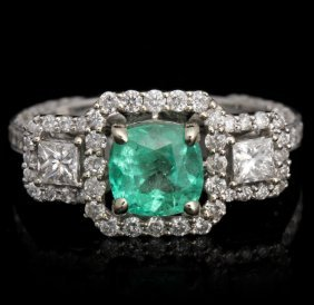 18KT White Gold 1.20ct Emerald and Diamond Ring FJM2487