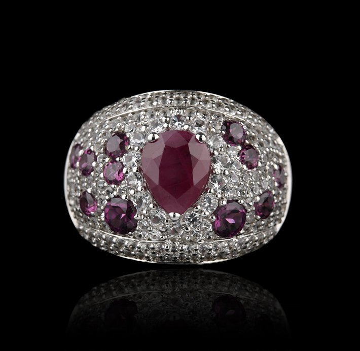 SILVER Tourmaline, Ruby and White Sapphire Ring FJM2162