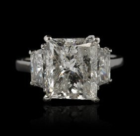 18KT White Gold 5.02ct I1/F Diamond Ring GB692