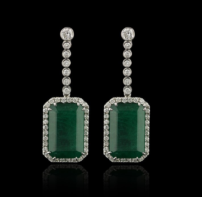 14KT White Gold 30.47ctw Emerald and Diamond Dangle Ear