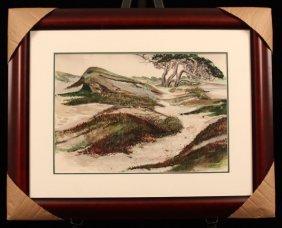 "Felice Woodworth Original Watercolor ""Dunes & Cypress,"