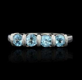 14KT White Gold 1.00ctw Aquamarine Ring GB487