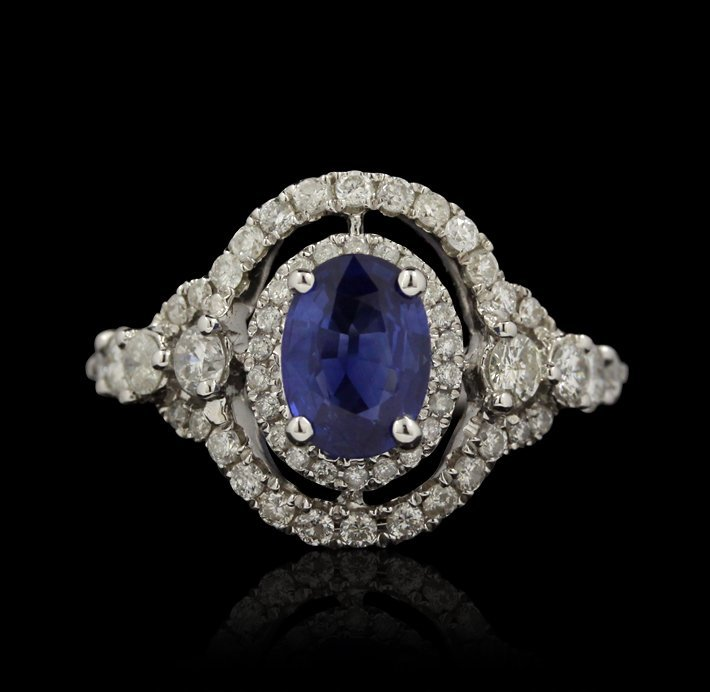 14KT White Gold 1.15ct Sapphire and Diamond Ring FJM245