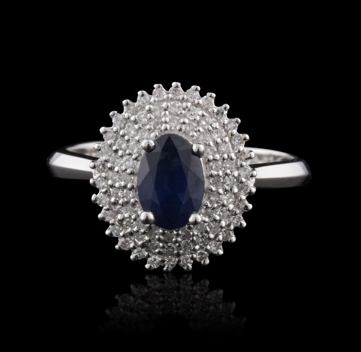 14KT White Gold 0.80ct Blue Sapphire and Diamond Ring F