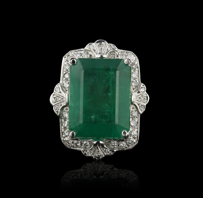14KT White Gold 19.91ct Emerald and Diamond Ring A4330