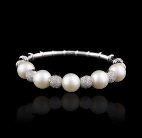 14KT White Gold 12.00mm Pearls & Diamond Bangle FJM2351