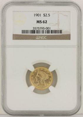 1901 $2 1/2 NGC MS62 Liberty Head Quarter Eagle Gold Co