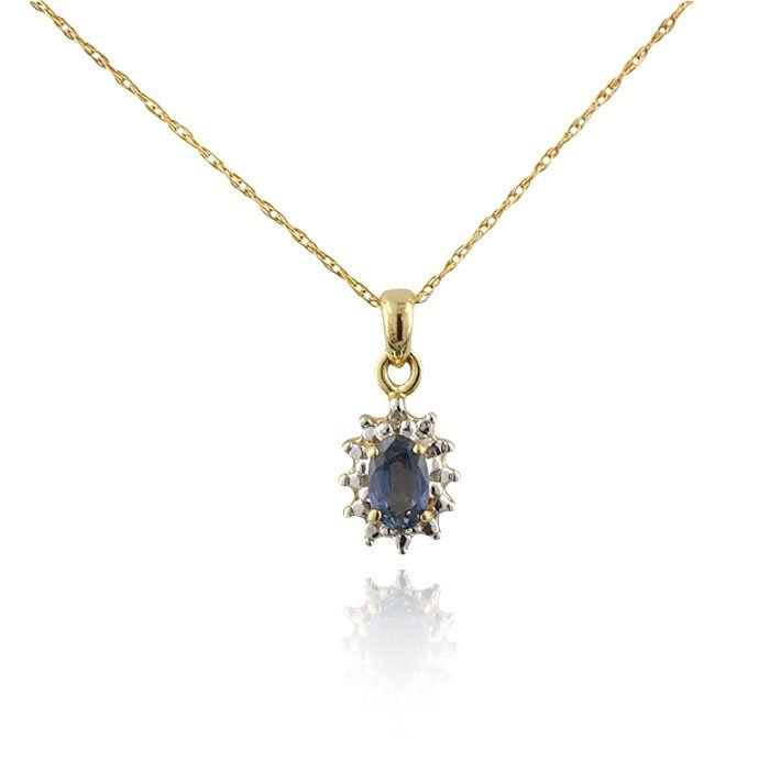 10KT Yellow Gold 0.35ct Tanzanite Pendant with Chain GD