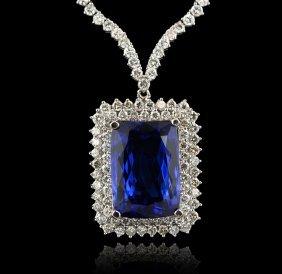 18KT White Gold 36.86ct Tanzanite and Diamond Necklace