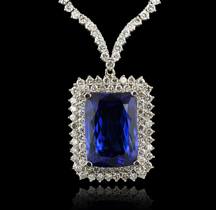 18KT White Gold 36.86ct Tanzanite and Diamond Necklace