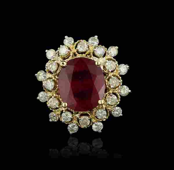 14KT Yellow and White Gold 6.85ct Ruby and Diamond Ring