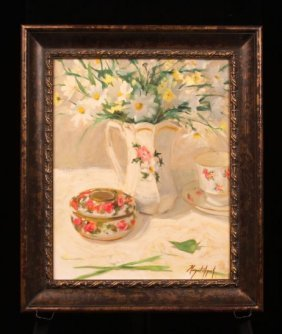 """Original Oil """"Daisies"""" by Listed Artist Margaret Aycock"""