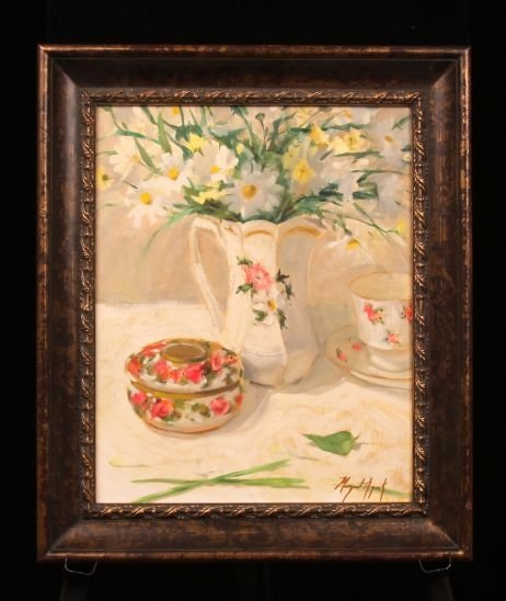 "Original Oil ""Daisies"" by Listed Artist Margaret Aycock"