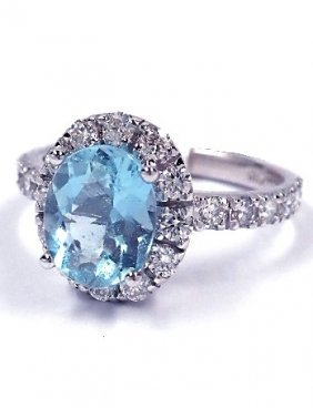 14KT White Gold 1.7ct Aquamarine and Diamond Ring A3363