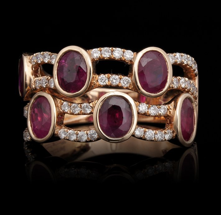 18KT Rose Gold 2.25ctw Ruby and Diamond Ring FJM2505